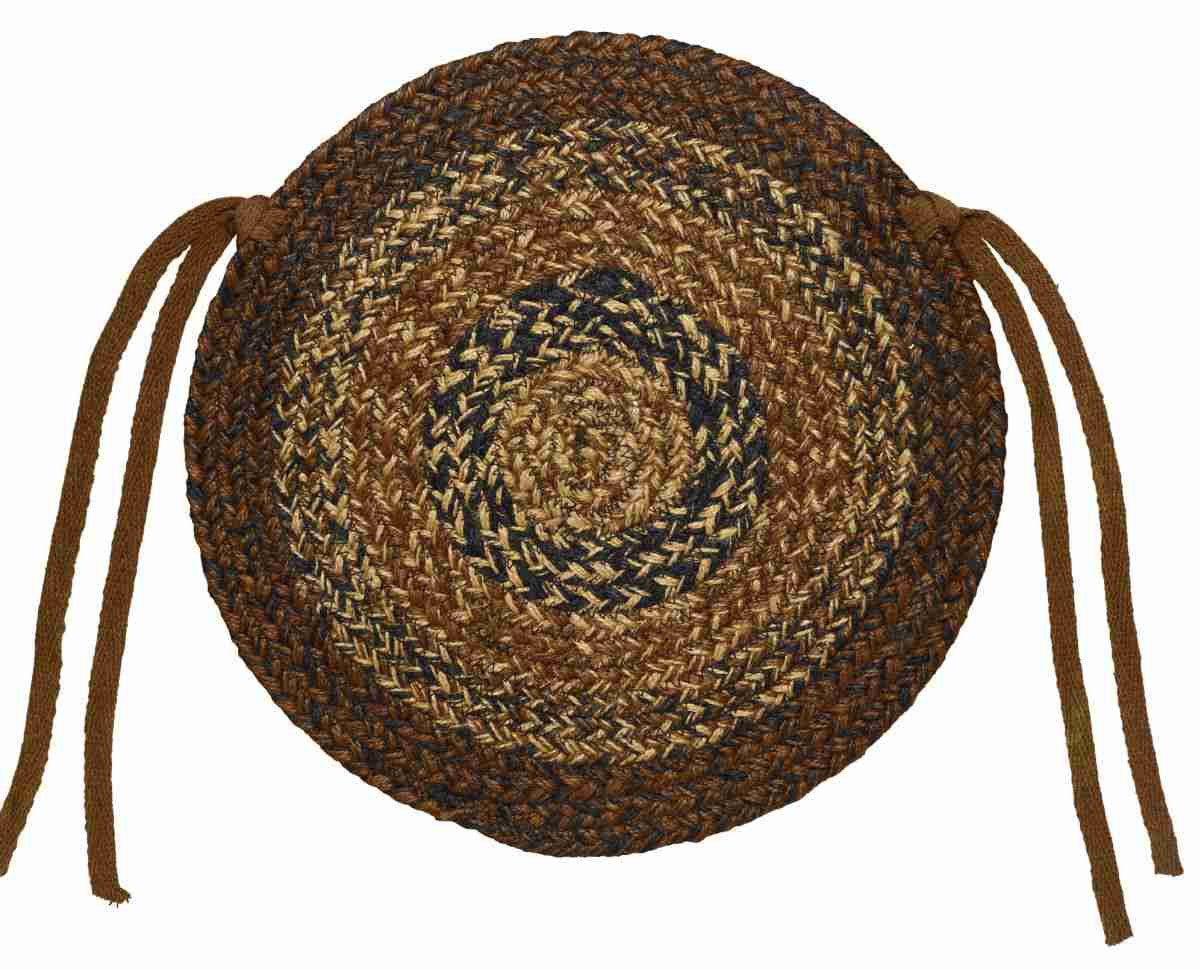 Cappuccino Braided Jute Chair Pad 15 In.