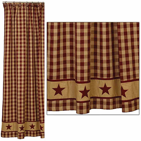 Cranberry Country Star Shower Curtain