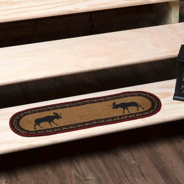 Cumberland Stenciled Moose Jute Stair Tread Oval Latex 8 5x27 Allysons Place