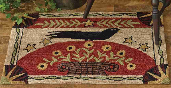 Folk Crow Hooked Rug 24 X 36 In Allysons Place