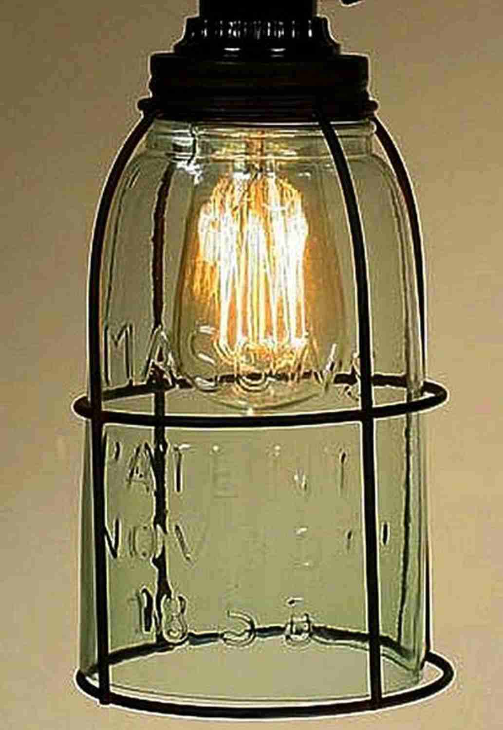 Half gallon caged mason jar pendant light allysons place mozeypictures Image collections