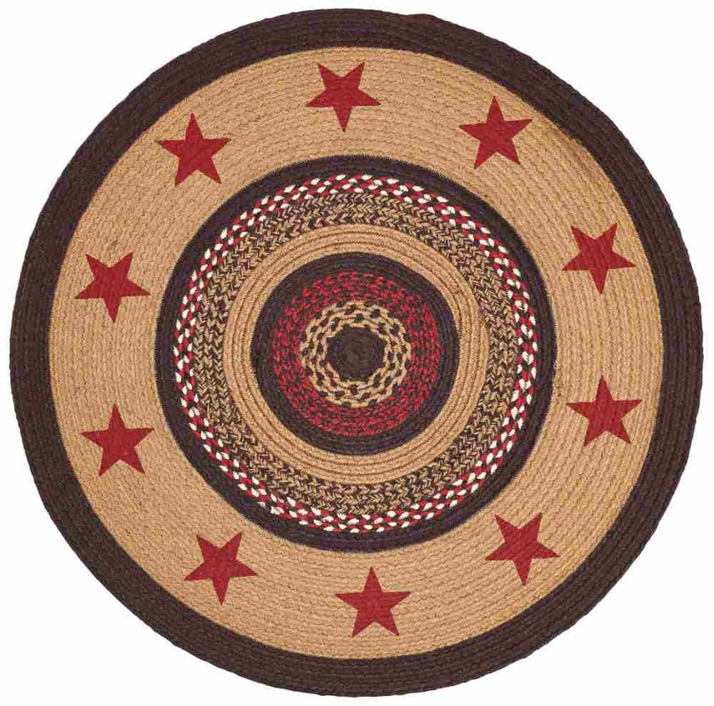 Landon Braided Jute Stencil Star Rug Round 6 Ft Allysons Place