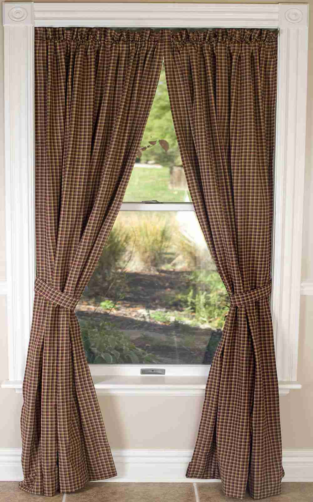 Brown plaid curtain panels - Patriotic Patch Plaid Curtain Panel 84 In