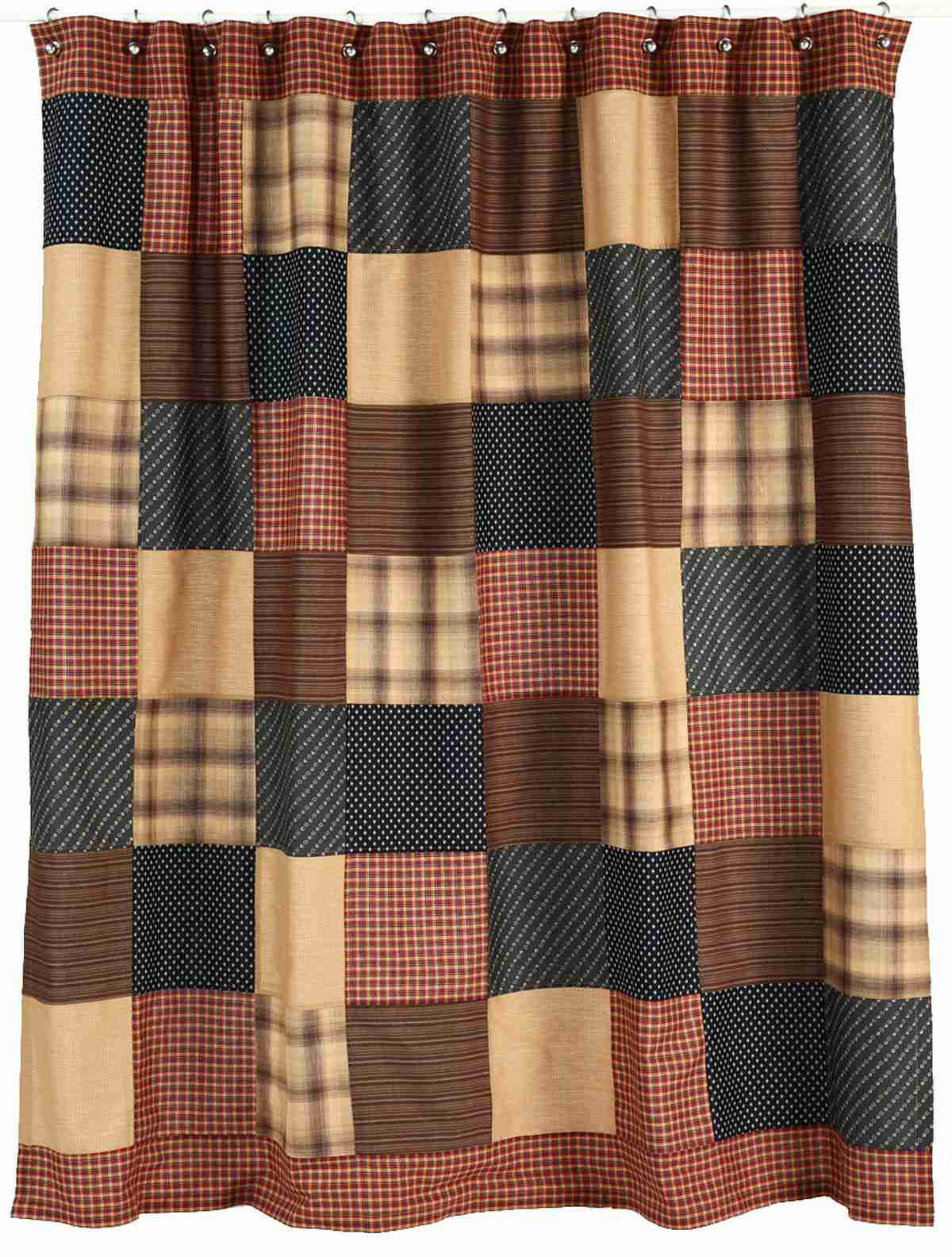 Patriotic Patch Shower Curtain Navys Red Chocolate With Tan And Black Accents Primitive