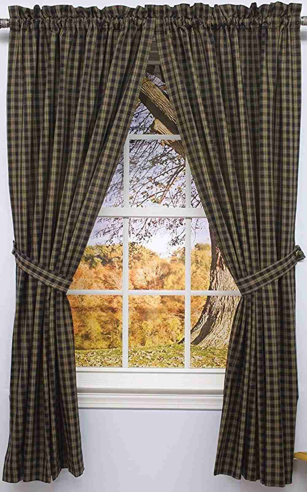 Sturbridge Black Curtain Panels 63 In Lined