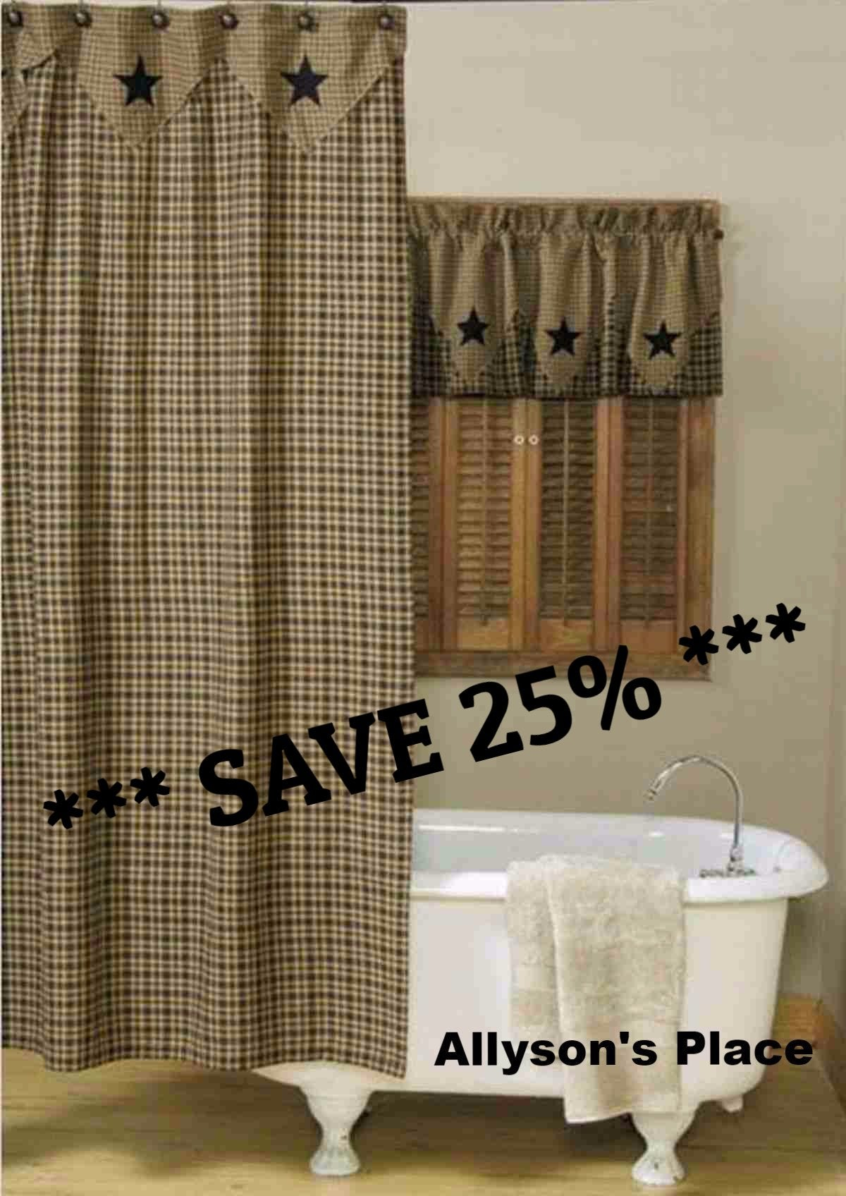 Vintage Star Black Shower Curtain