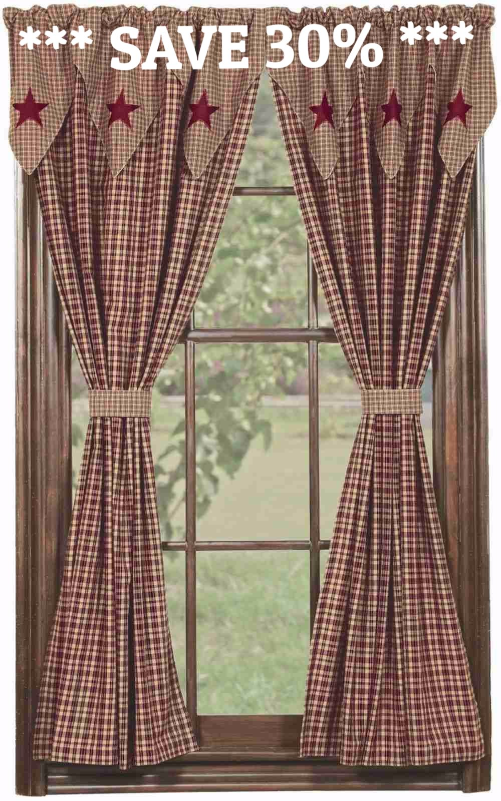 Vintage Star Wine Curtain Panels Unlined 63 In