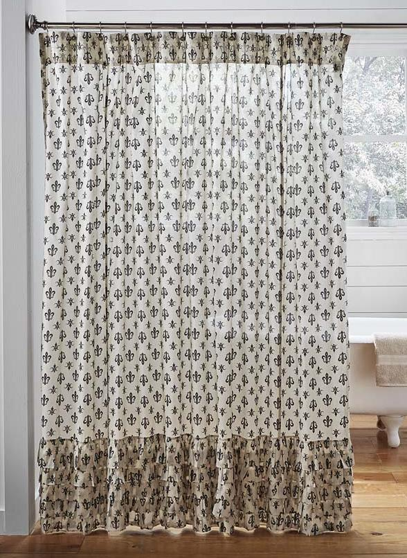... Elysee Ruffled Shower Curtain 72x72, Fleur Di Lis Pattern In Black On  Creme Base Fabric ...