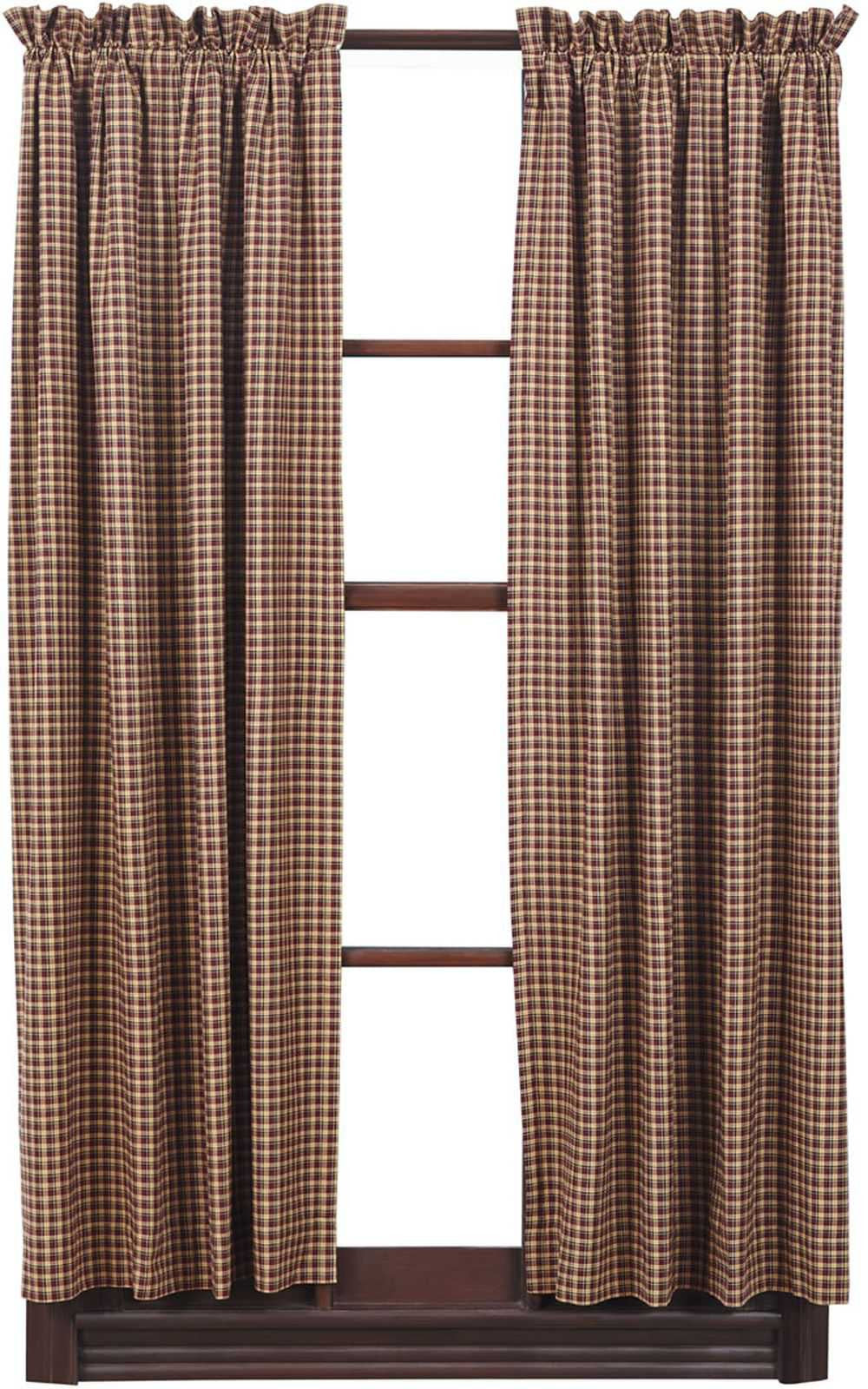 Patriotic Patch Plaid Curtain Panel Short 63 In