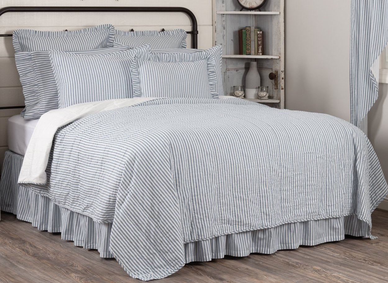 Sawyer Mill Blue Ticking Stripe California King Quilt Coverlet 130wx11 Allysons Place