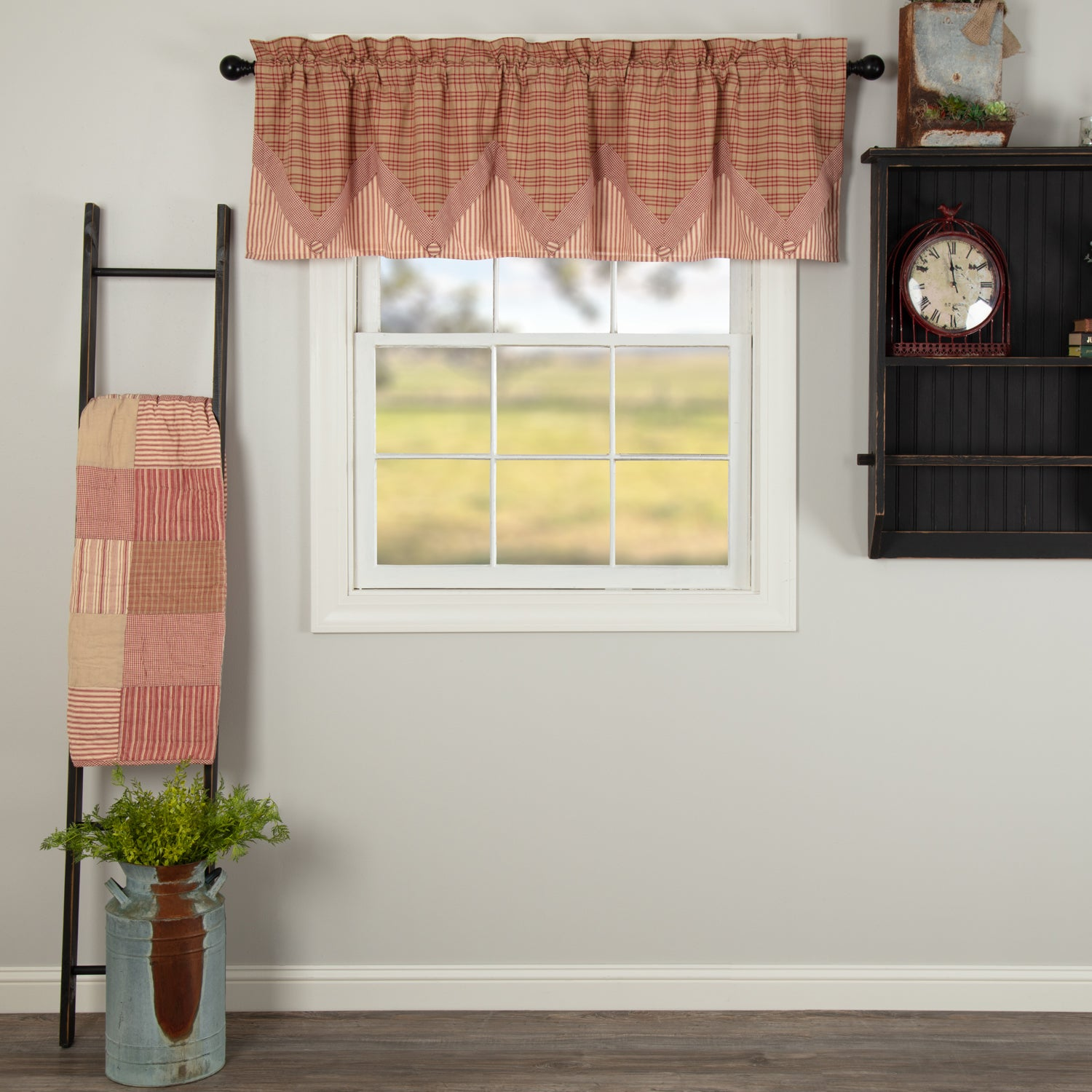Sawyer Mill Red Valance Layered 20x72 Allysons Place