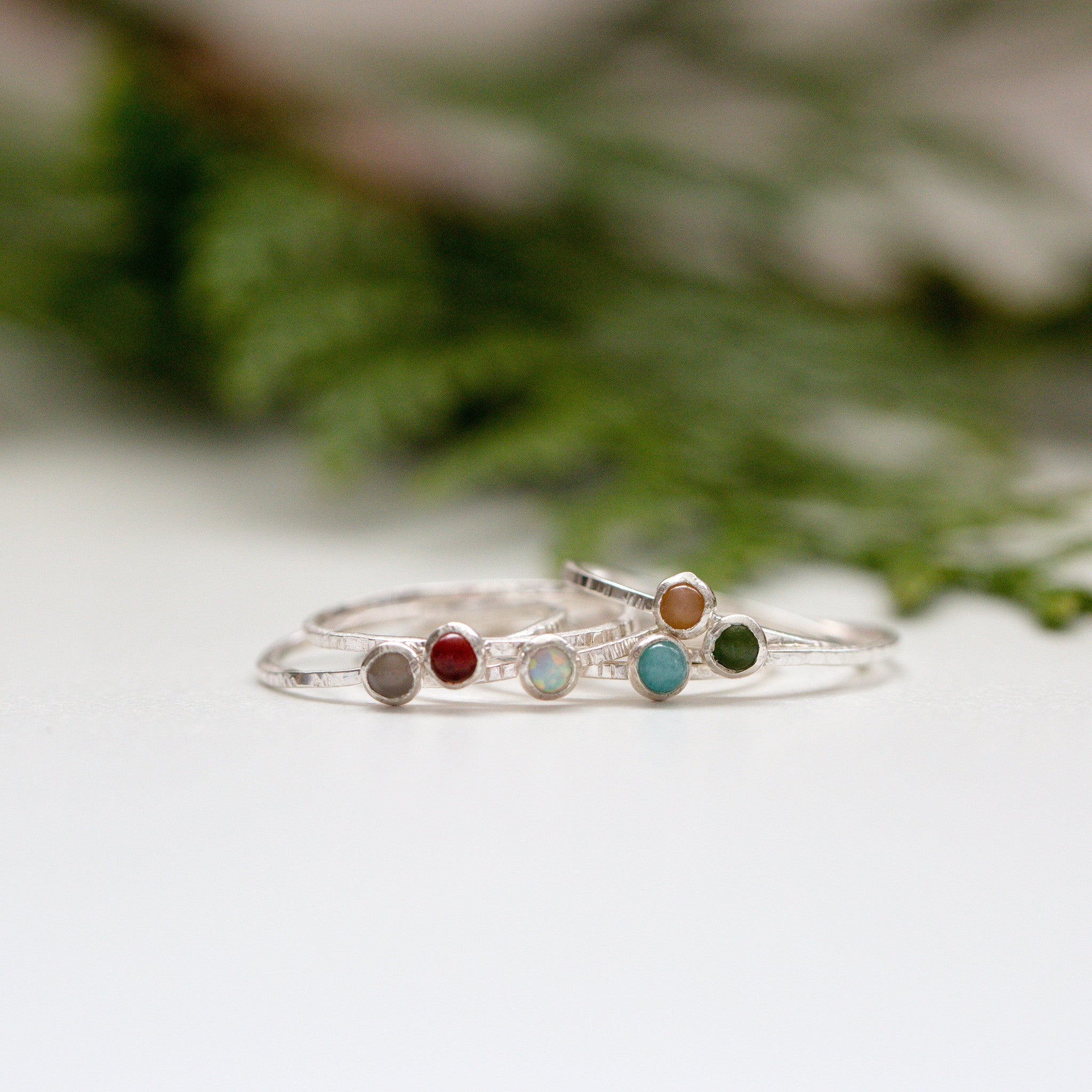 Faux Opal Silver Gemstone Ring
