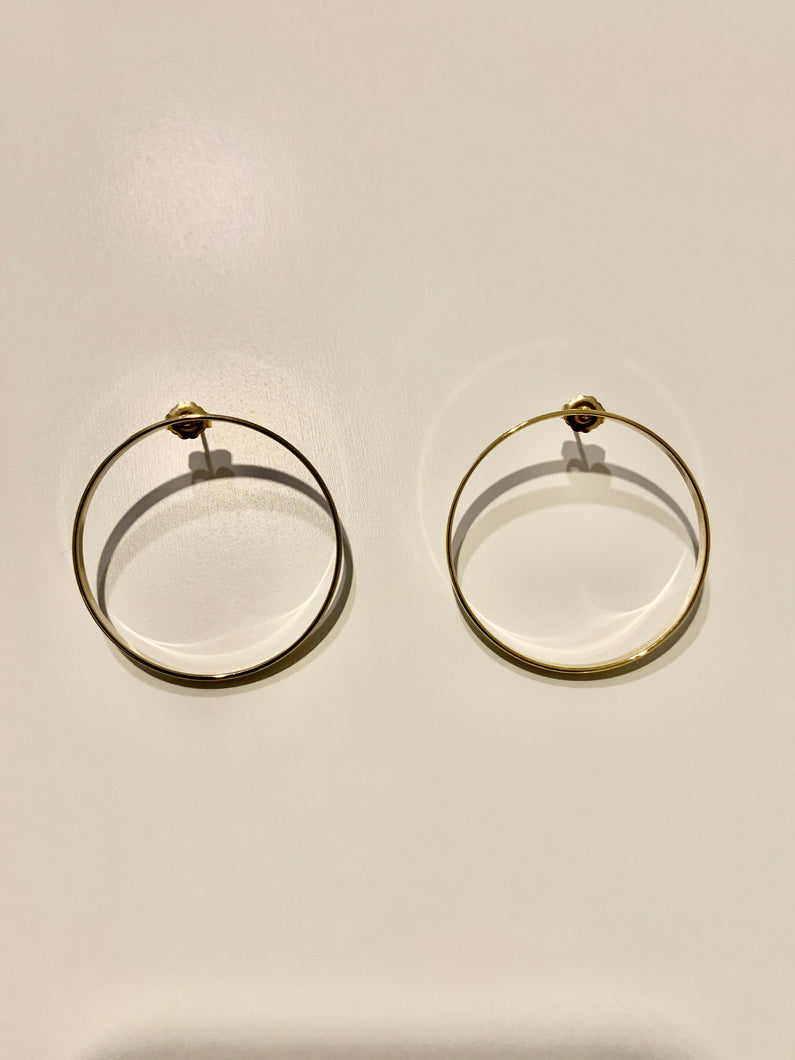 XL circle post earrings
