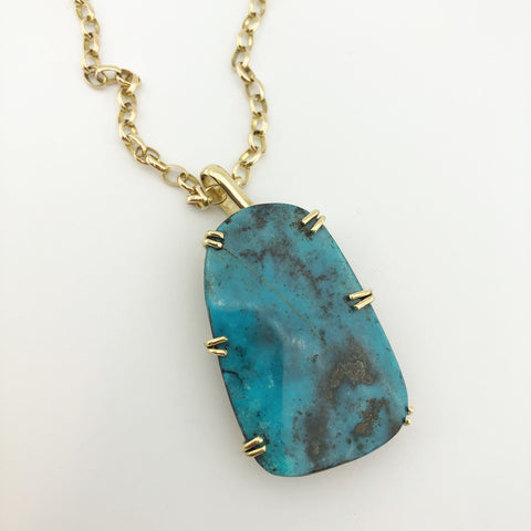 18ct Yellow Gold Pendant with Clients Turquoise