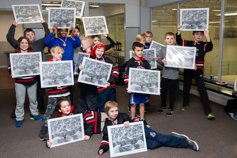 "TEAM PACKAGE for orders of 10 or more: ""The Dream Begins Here"" PERSONALIZED Hockey Artwork"