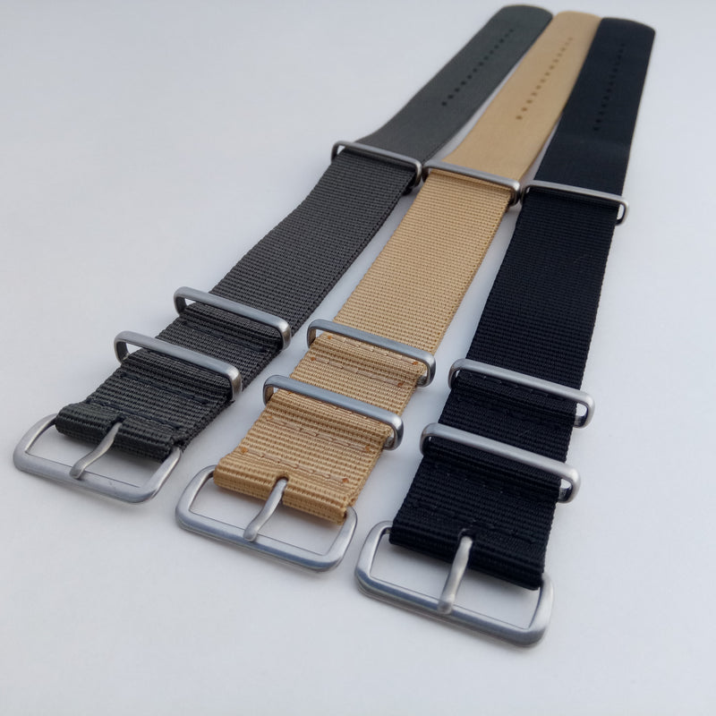 Three nato watch straps angle view