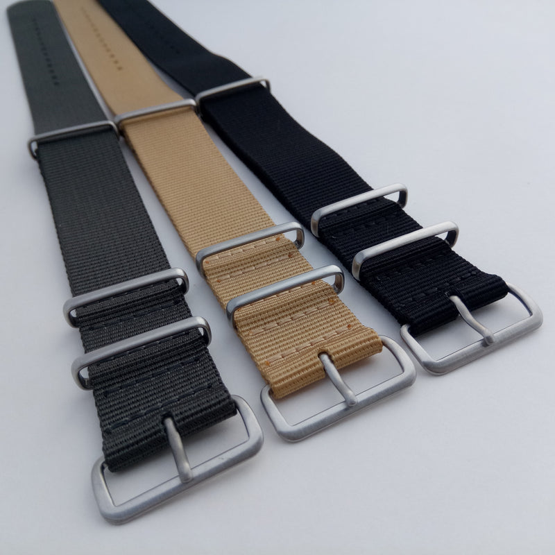 Three nato watch straps angle view 2