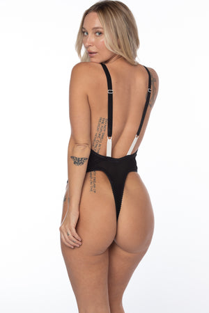 CINDER V-NECK THONG BODYSUIT