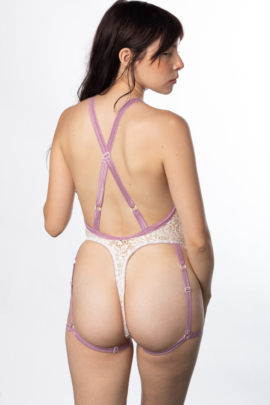 RTS FAWN LACE DEEP-V HARNESS BODYSUIT