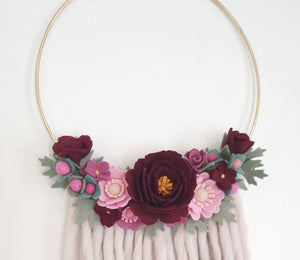 """Winterberry"" Large Floral Hoop Wall Hanging - Ready to Ship"