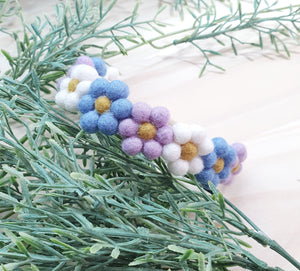 Pompom Blossom Headband ~ Purple, White and Blue