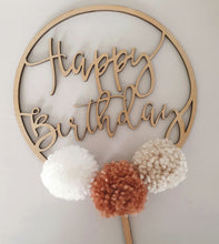 "Load image into Gallery viewer, ""Happy Birthday"" Pom Pom Cake topper"
