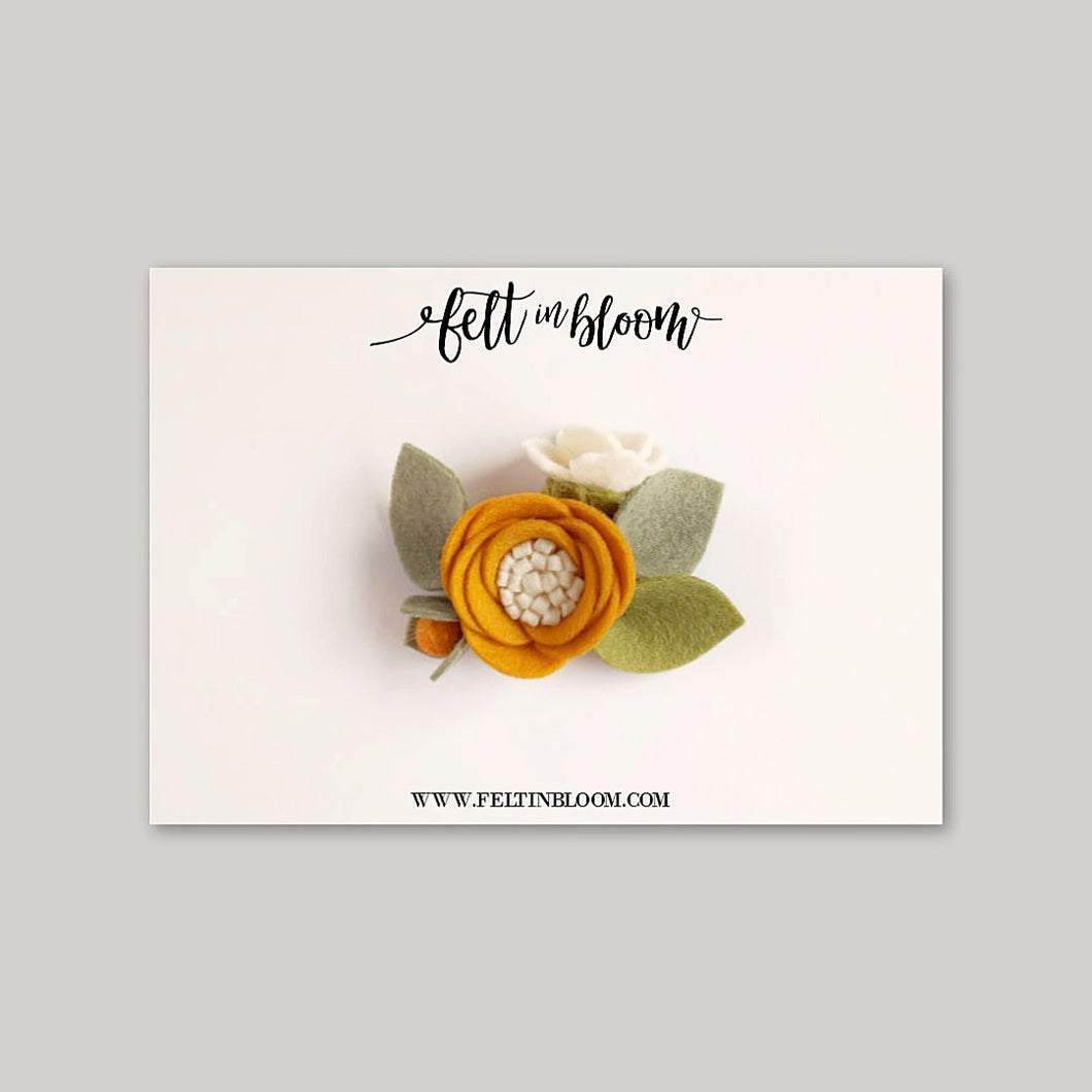 MUSTARD ~ PETITE BLOOM HEADBAND/CLIP