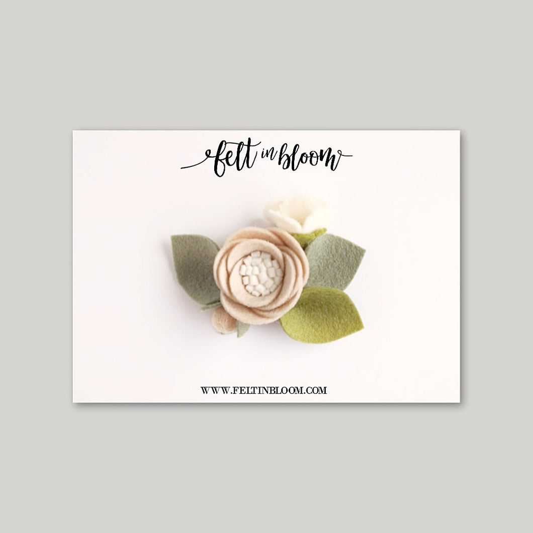 ALMOND ~ PETITE BLOOM HEADBAND/CLIP