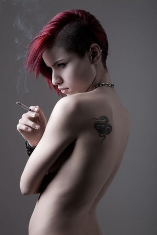Girl with undercut and red hair