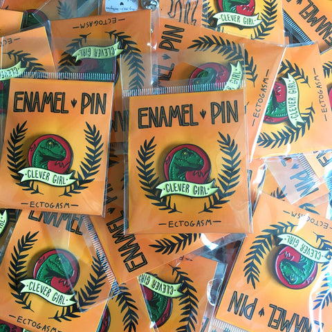 Custom packaged lapel pins, ready for retail.