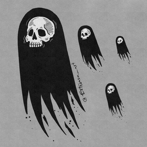A spooky digital illustration of ghosts with human skull faces by Ectogasm