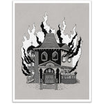 A gothic art print of a haunted house on fire for Halloween home decor.