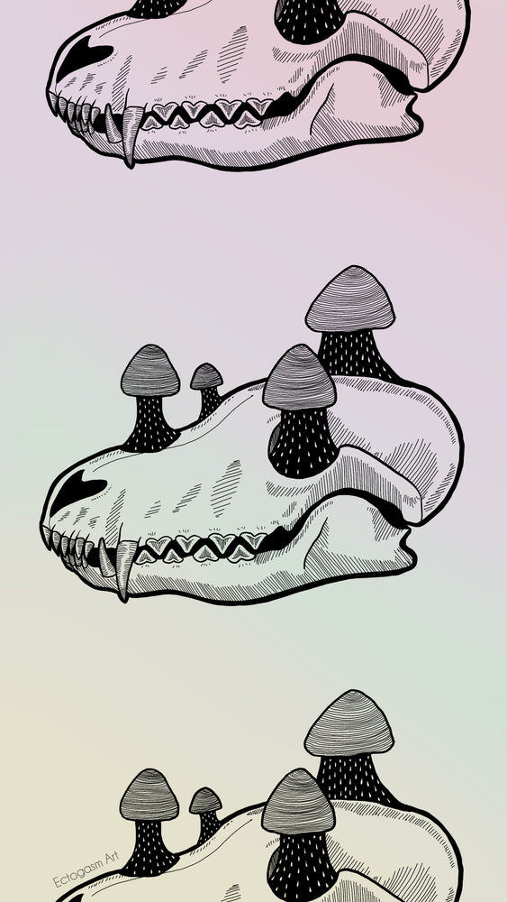 A psychedelic rainbow phone wallpaper featuring Ectogasm's illustration of a fox skull with mushrooms.
