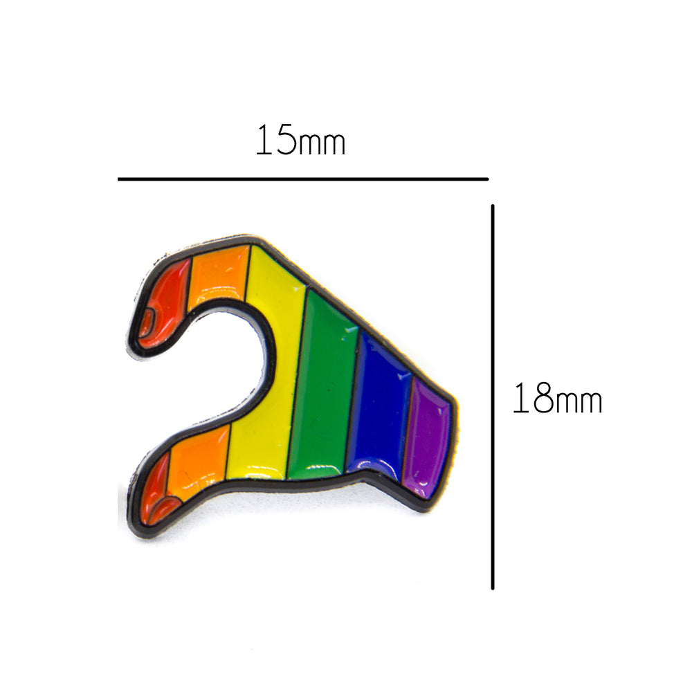 Enamel pin set of rainbow colored hands for lgbt pride.