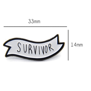 A banner enamel pin measuring 33mm x 14mm.