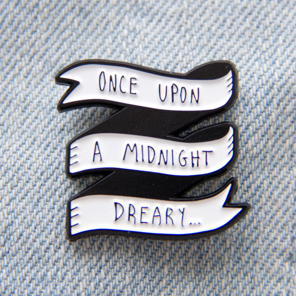 """Once Upon A Midnight Dreary"" Edgar Allan Poe Raven Quote Enamel Pin"