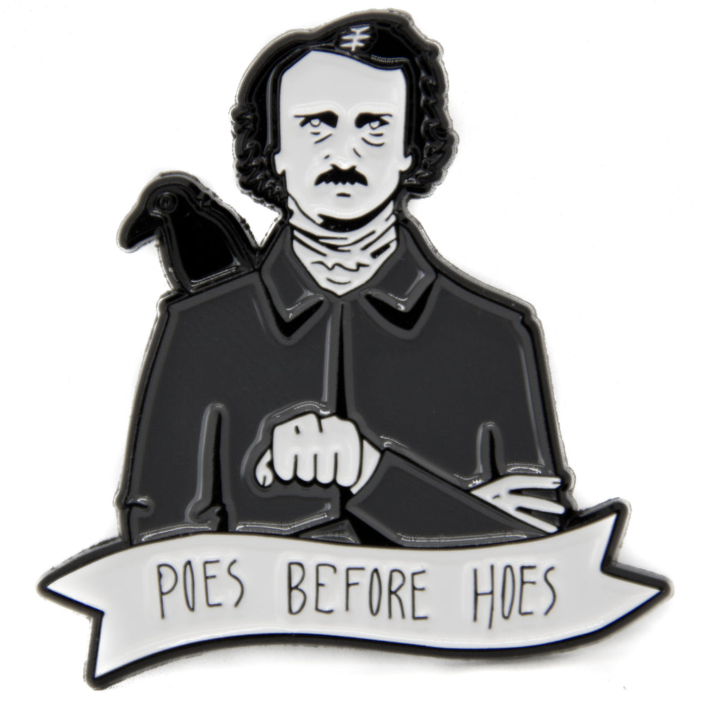 A black enamel pin of Edgar Allen Poe and a Raven with a quote.