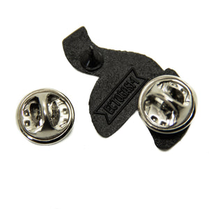 Two metal clasps on the back of a lapel pin. Ectogasm's logo is stamped on it.