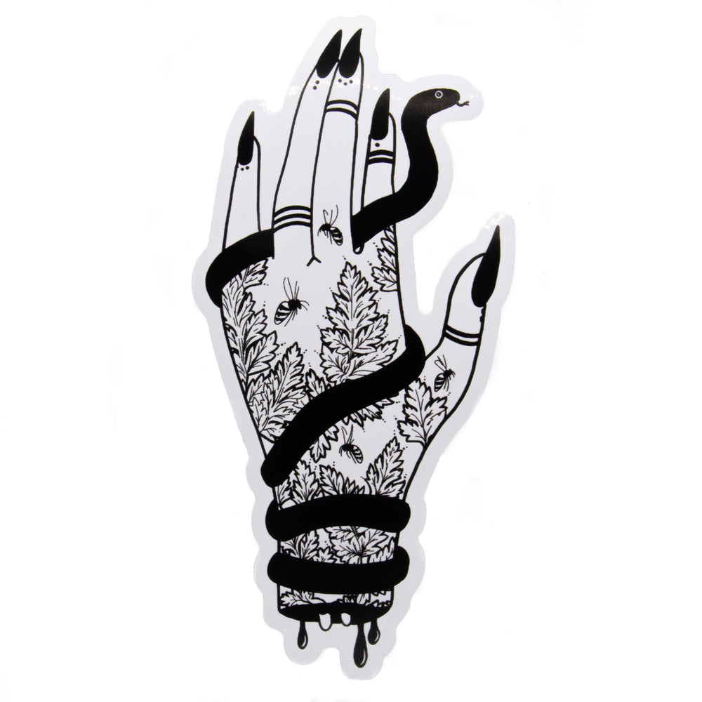 """Her Wicked Left Hand"" with Snake and Hemlock Vinyl Sticker"
