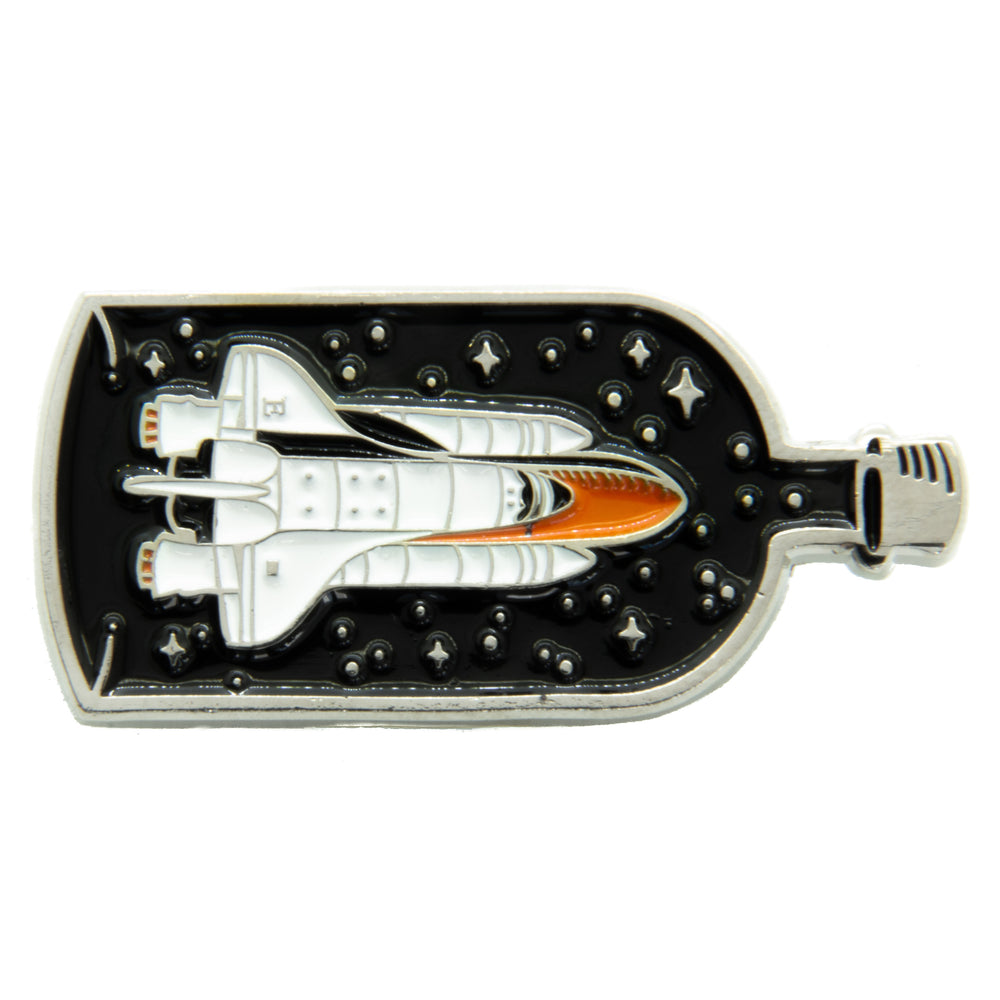 Spaceship in a Bottle Enamel Pin in Silver