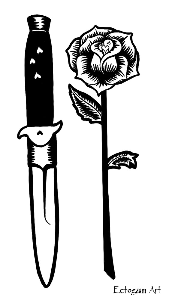 White Knife and Rose Tattoo Phone Wallpaper - Free Digital Download