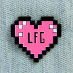 """LFG"" Pixel Heart Gamer Enamel Pin"