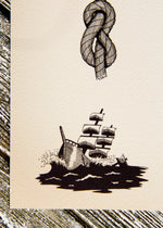 "Details from ""Curse of Neptune"", by Raeha Keller, depicting a sinking ship and a bowline rope knot."