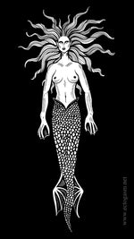 Mermaid Cell Phone Wallpaper in Black - Digital Download