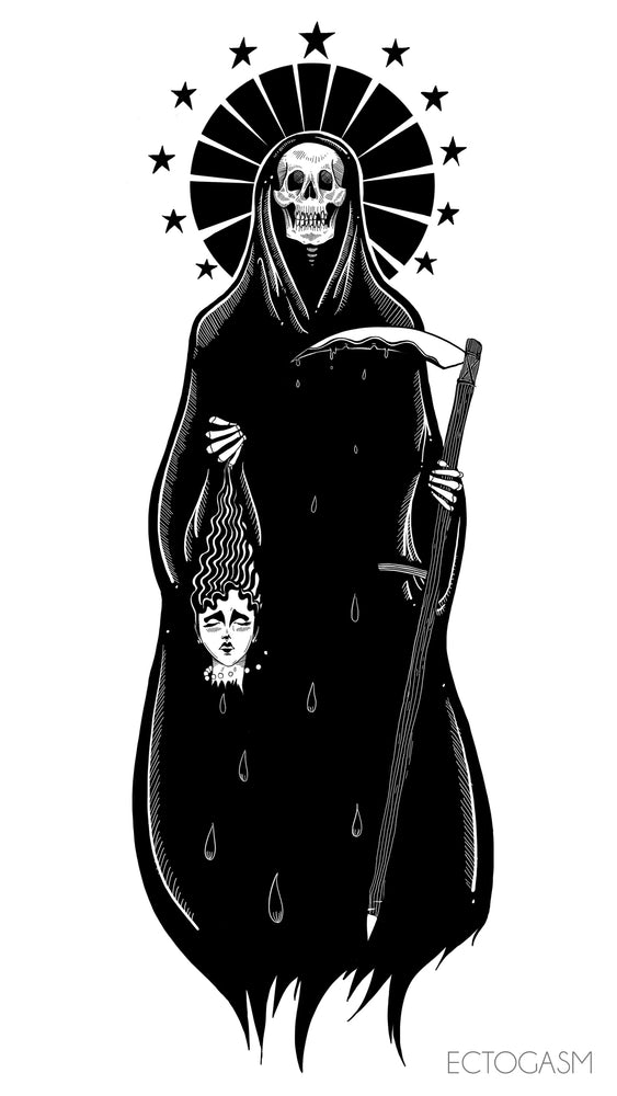 A cool illustration of a grim reaper, formatted for iphone and Andriod wallpaper.