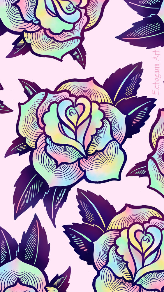 free digital download of original art by Ectogasm. Features a psychedelic rose design in pink and purple.