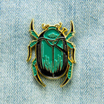 Green Scarab Beetle Curio Enamel Pin in Gold