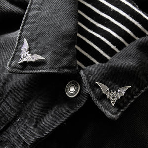 Bat collar enamel pins for goth fashion and alternative style.