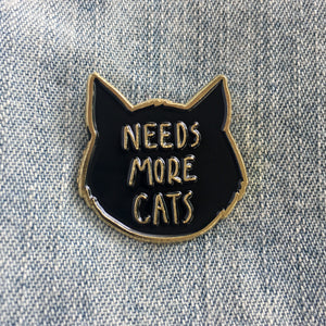 """Needs More Cats"" Black and Gold Lapel Pin"