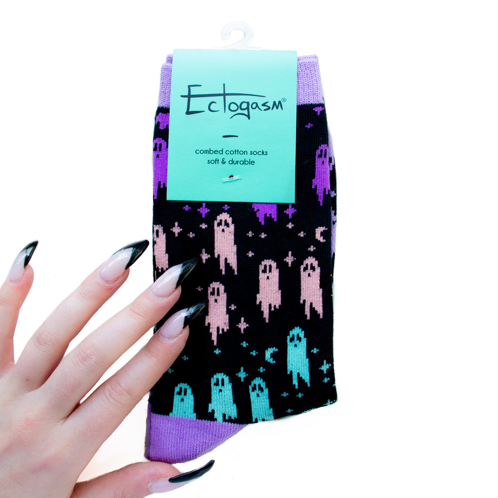 Cute pastel goth ghost socks for women, by Ectogasm.